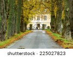 Old Avenue In Autumn Leading U...