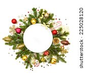 Christmas White Round With Fir...