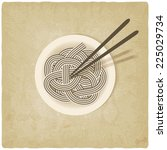 noodles on plate old background ... | Shutterstock .eps vector #225029734