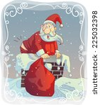 overweight santa stuck in the... | Shutterstock .eps vector #225032398