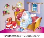 santa claus goes to sleep | Shutterstock .eps vector #225033070