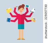 multitasking character  manager.... | Shutterstock .eps vector #225057730