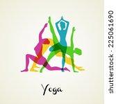 vector illustration of yoga... | Shutterstock .eps vector #225061690