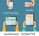 online reading and e book.... | Shutterstock .eps vector #225062749