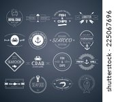 perfect set of seafood logos.... | Shutterstock .eps vector #225067696