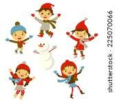 winter little girl sculpts...   Shutterstock .eps vector #225070066