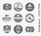 seafood sushi menu japanese...   Shutterstock .eps vector #225077908