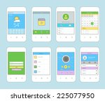 white smartphones set with... | Shutterstock .eps vector #225077950