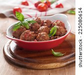 minced meat ball in tomato...   Shutterstock . vector #225080614