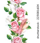 rose flowers and feathers frame.... | Shutterstock . vector #225081604