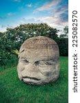 olmec colossal head in the...   Shutterstock . vector #225082570