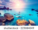 Fantastic morning blue sea glowing by sunlight. Dramatic scene. Black Sea, Crimea, Ukraine, Europe. Beauty world. Retro style filter. Instagram toning effect. - stock photo