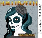 halloween girl with skull makeup | Shutterstock . vector #225088936