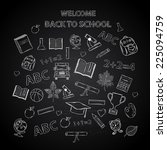 back to school chalkboard... | Shutterstock .eps vector #225094759