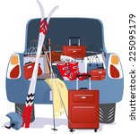 car packed for a ski trip with... | Shutterstock .eps vector #225095179