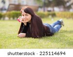 woman student lying on the... | Shutterstock . vector #225114694