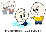 kid offers help to stand up to... | Shutterstock .eps vector #225115954