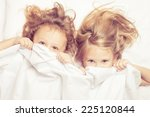 lovely brother and sister lying ... | Shutterstock . vector #225120844