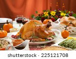 roasted turkey on a server tray ... | Shutterstock . vector #225121708