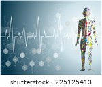 molecule heart healthcare and... | Shutterstock .eps vector #225125413