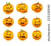 set pumpkins for halloween | Shutterstock .eps vector #225130540