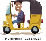 the smiling indian rickshaw is... | Shutterstock .eps vector #225150214