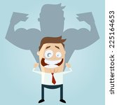 funny businessman is strong | Shutterstock .eps vector #225164653