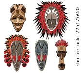 set of five african masks.... | Shutterstock .eps vector #225179650