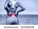 back pain. athletic running... | Shutterstock . vector #225180238