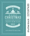christmas retro typography and... | Shutterstock .eps vector #225187630