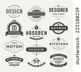 Stock vector retro vintage insignias or logotypes set vector design elements business signs logos identity 225188239