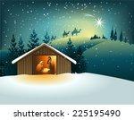 christmas nativity scene with... | Shutterstock .eps vector #225195490