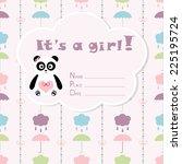 baby girl arrival card. baby... | Shutterstock .eps vector #225195724