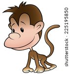 puppy monkey   colored cartoon... | Shutterstock .eps vector #225195850