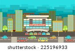 supermarket. city in the style... | Shutterstock .eps vector #225196933