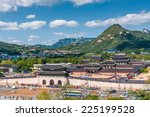 aerial view of gyeongbokgung... | Shutterstock . vector #225199528