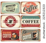 set of vintage cafe tin signs.... | Shutterstock .eps vector #225212323