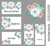 set of invitations with floral... | Shutterstock .eps vector #225215533