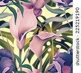 seamless tropical flower  plant ... | Shutterstock . vector #225219190