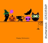 halloween card with owl  cat... | Shutterstock .eps vector #225235369