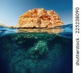 split shot with coral reef... | Shutterstock . vector #225238090