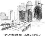 hand drawn artwork   building... | Shutterstock . vector #225245410