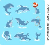 nine dolphin set collection ... | Shutterstock .eps vector #225246370
