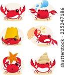 Red Cartoon Crab Action Set ...