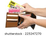 thrifty shopper using coupons... | Shutterstock . vector #225247270