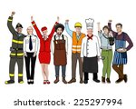 group of diverse multiethnic... | Shutterstock . vector #225297994