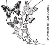 Stock vector monochrome butterflies design on floral background 225300883