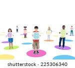 multi ethnic children connected ...   Shutterstock . vector #225306340