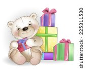 smiling bear is sitting with... | Shutterstock .eps vector #225311530