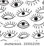 Doodle Eye  Seamless Pattern.